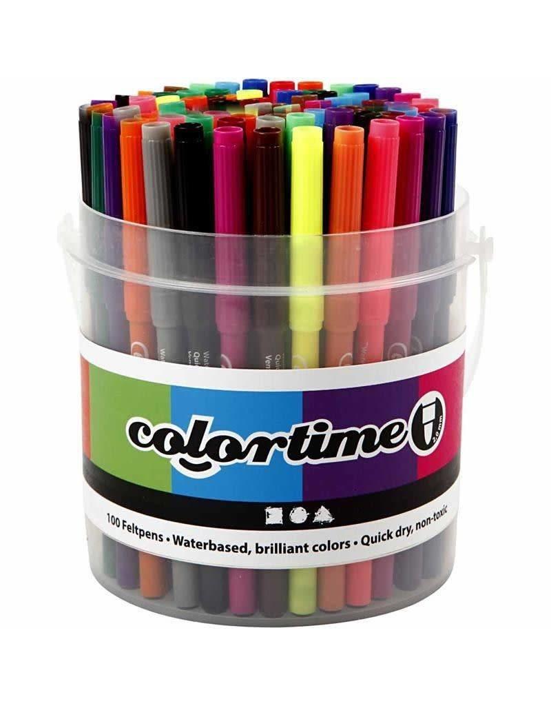Colortime stift, lijndikte: 2 mm, 100 stuks, kleuren assorti