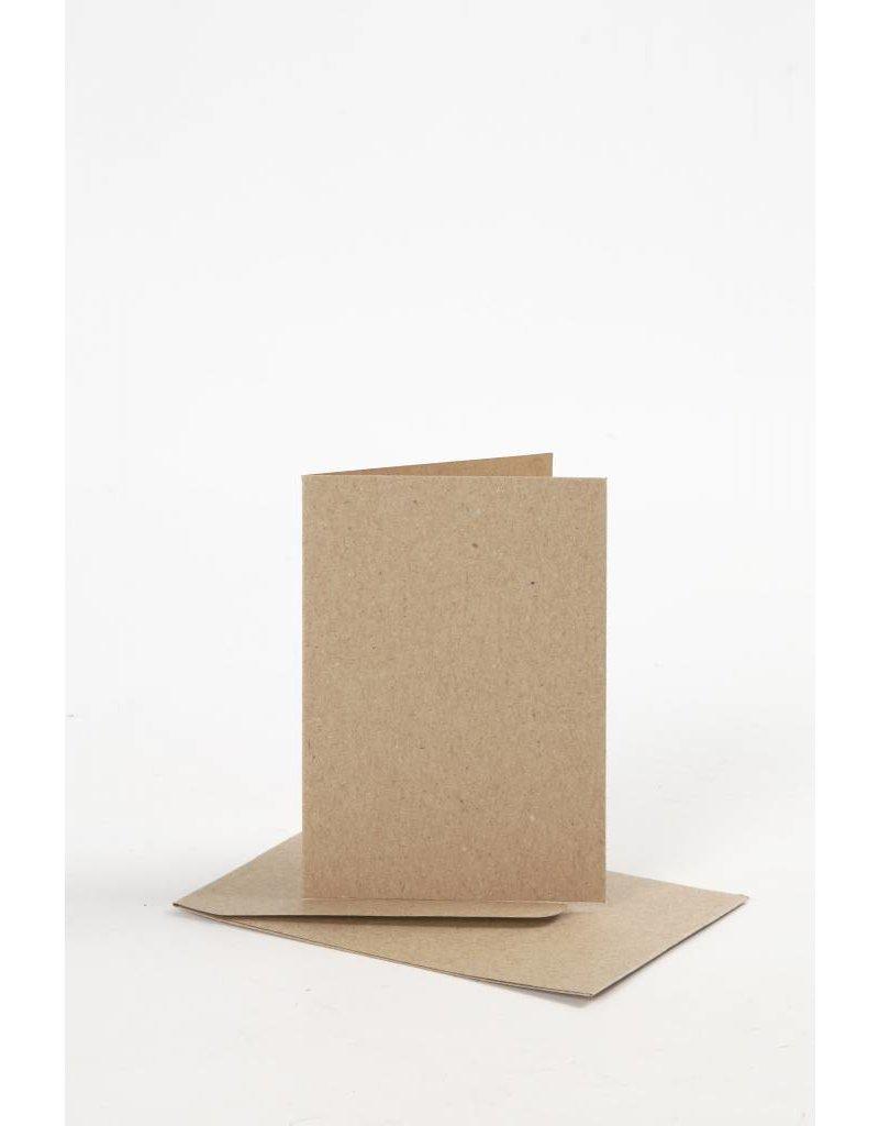 Kaarten & Enveloppen, afmeting kaart 7,5x10,5 cm, naturel, 10sets