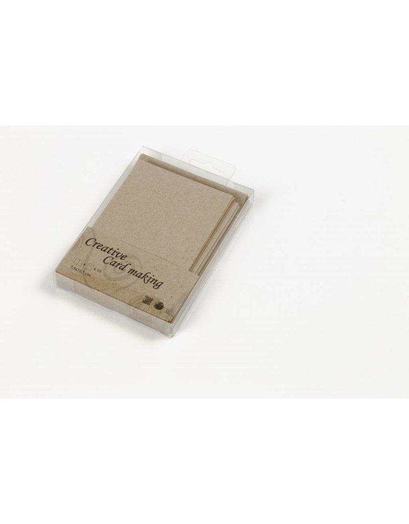 Kaarten & Enveloppen, 7,5x10,5 cm, naturel, 10sets