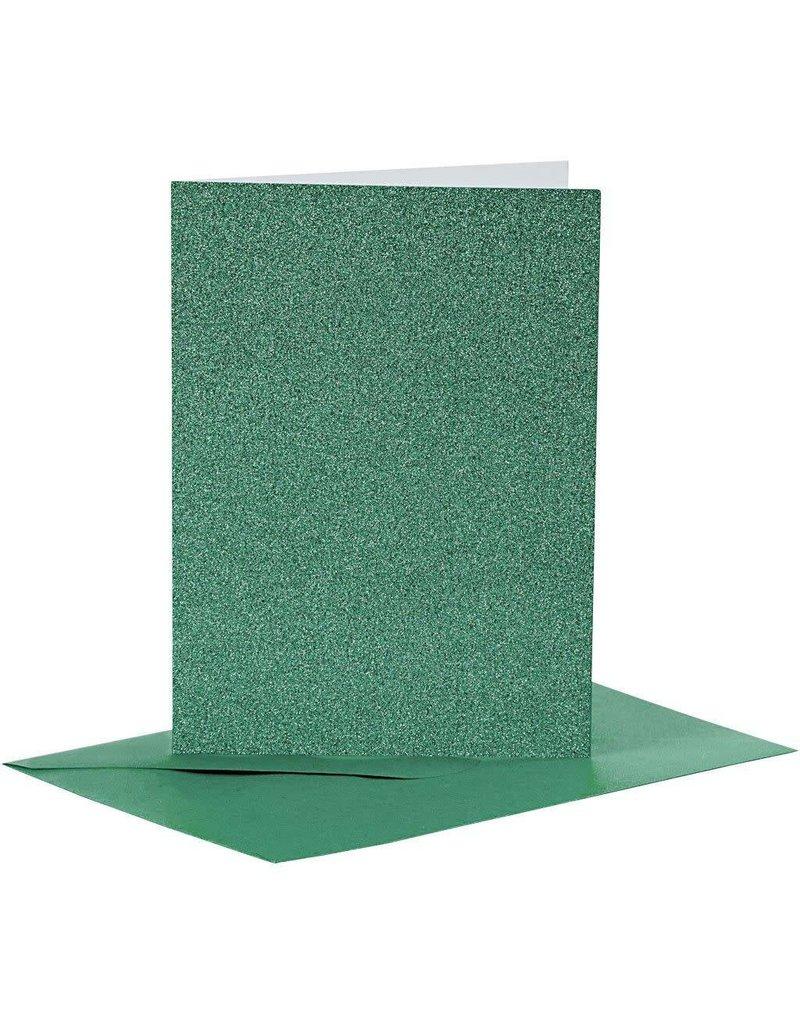 Kaarten & enveloppen, 10,5x15 cm, 4 sets, groen