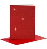 Kaarten en enveloppen, afmeting kaart 10,5x15 cm, afmeting envelop 11,5x16,5 cm, 4 sets, rood