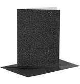 Kaarten en enveloppen, afmeting kaart 10,5x15 cm, afmeting envelop 11,5x16,5 cm, 4 sets, zwart