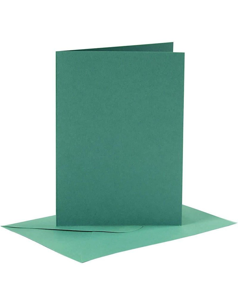 Kaarten en enveloppen, afmeting kaart 10,5x15 cm, afmeting envelop 11,5x16,5 cm, 6 sets, donkergroen