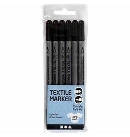 Textielstiften, lijndikte: 2,3+3,6 mm, 6 stuks, zwart