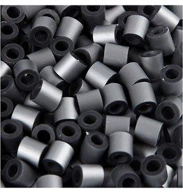 Nabbi strijkkralen, afm 5x5 mm, gatgrootte 2,5 mm, 1100 stuks, zilver