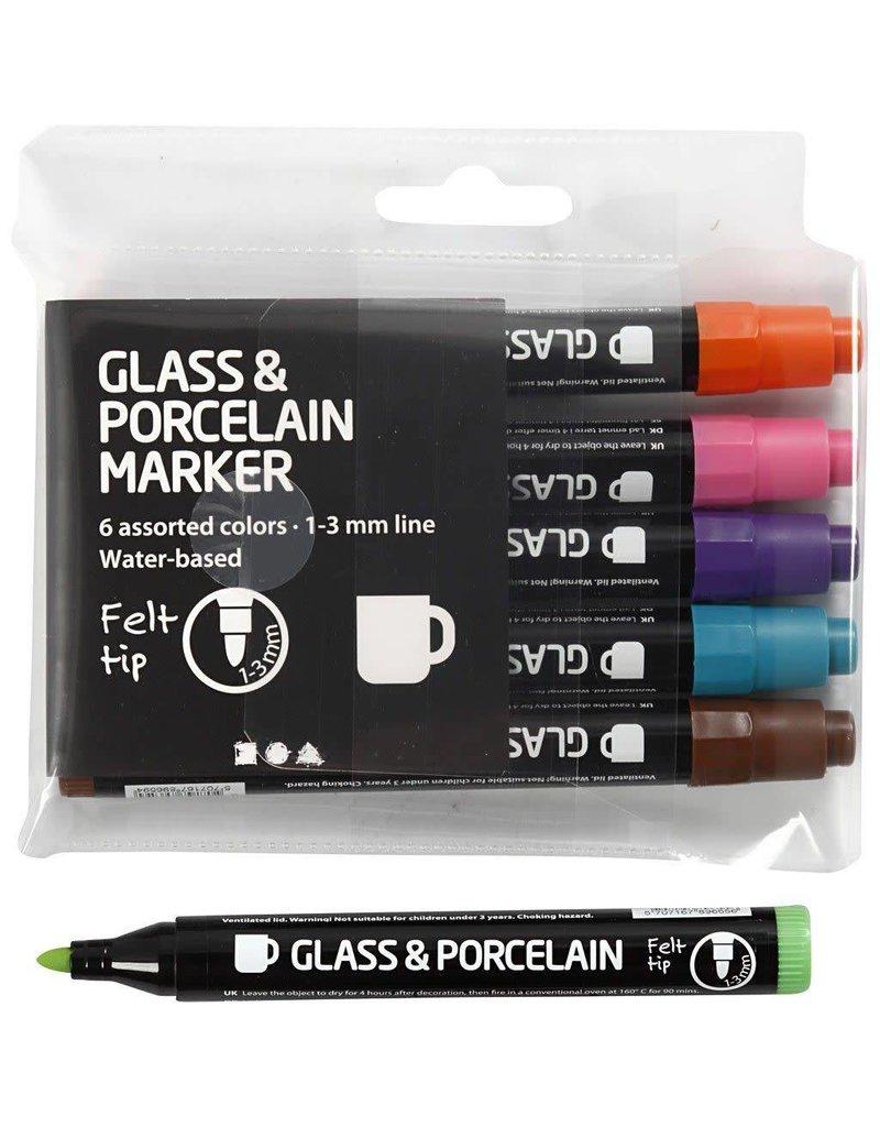 Glas & Porseleinstiften, lijndikte: 13 mm, 6 stuks, extra kleuren