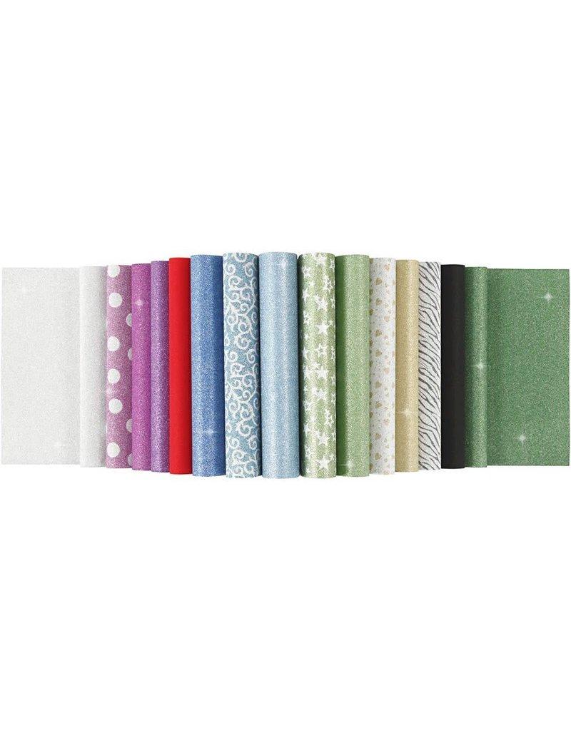 Glitterpapier blok, A4 210x297 mm, 150 gr, 30 vellen