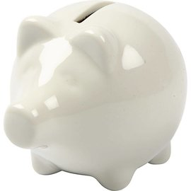 Spaarvarken, h: 8 cm, b: 8,5 cm, wit, per stuk