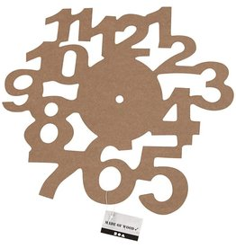 Klok, d: 30 cm, MDF, 1stuk, dikte 3 mm