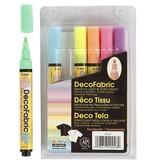 Deco textielstift, lijndikte: 3 mm, 6 stuks, neon kleuren