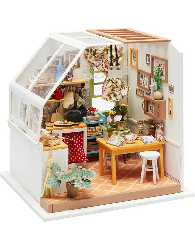 DIY Miniatuur kamer, keuken, h: 18,7 cm, b: 19 cm, 1stuk, diepte 16,5 cm