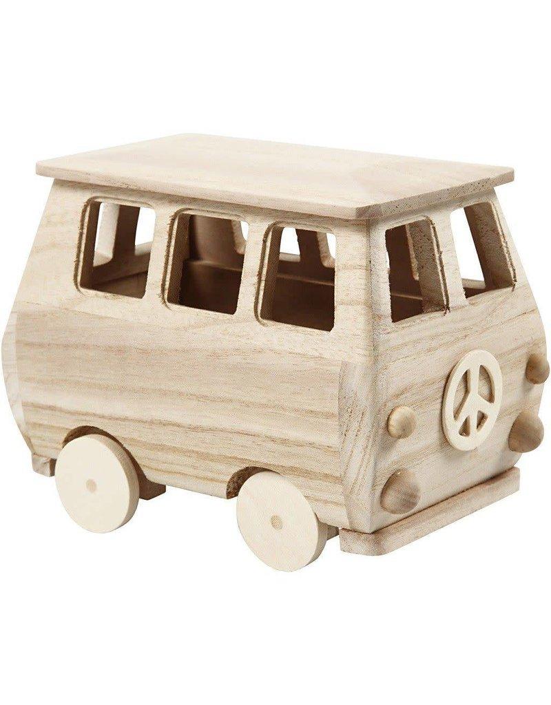 Minibus, afm 17x10x13 cm, grenen, Keizerin boom, 1stuk