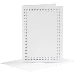 Kaarten om te borduren, afmeting kaart 10,5x15 cm, afmeting envelop 11,5x16 cm, wit, 6stuks