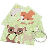DIY Vouw dieren, h: 811,5 cm, b: 3,56 cm, bosdieren, 4stuks, 220 g/m2