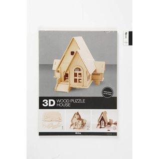 3D Houten huis met glijbaan ingang, afm 22,5x17,5x20,5, 1 stuk, triplex