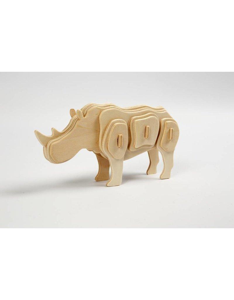 3D Puzzel, neushoorn  lxbxh 16x4x8 cm, 1 stuk, triplex