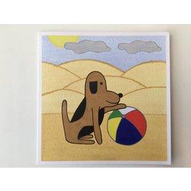 Kaatje&Mup Dubbele kaart: Mup met strandbal