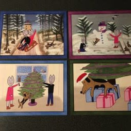 Kaatje&Mup Keuren Ansichtkaarten  Kerst, 4 stuks