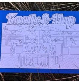 Kaatje&Mup Kleurplaat Ansichtkaart  Drankje drinken strandtent