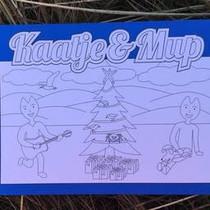 Kaatje&Mup Kleurplaat Ansichtkaart  Kerst, Mup slaapt op cadeautjes