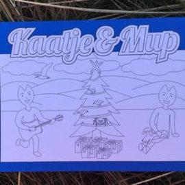 Kaatje&Mup Kleurplaat Ansichtkaart  Kerst, Bij de kerstboom