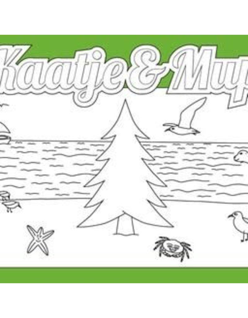 Kaatje&Mup Kleurplaat Ansichtkaart  Kerst, Kerstboom op strand