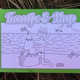 Kaatje&Mup Kleurplaat Ansichtkaart  Zandkasteel