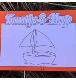 Kaatje&Mup Kleurplaat Ansichtkaart  Zeilboot