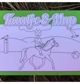 Kaatje&Mup Kleurplaat Ansichtkaart  Paardrijden