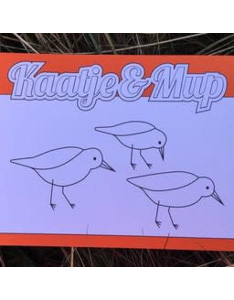 Kaatje&Mup Kleurplaat Ansichtkaart  Strandlopertjes