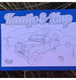 Kaatje&Mup Kleurplaat Ansichtkaart  Strandrijden