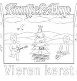 Kaatje&Mup Kleurplaat Placemat  Kerst, bij de kerstboom  per stuk