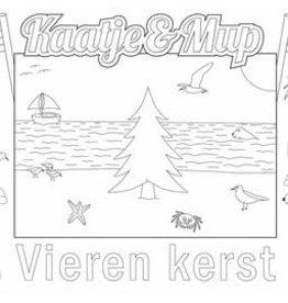 Kaatje&Mup Kleurplaat Placemat  Kerst, kerstboom op strand  per stuk