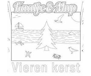 Kleurplaat Placemat Kerst Kerstboom Op Strand Per Stuk Stichting