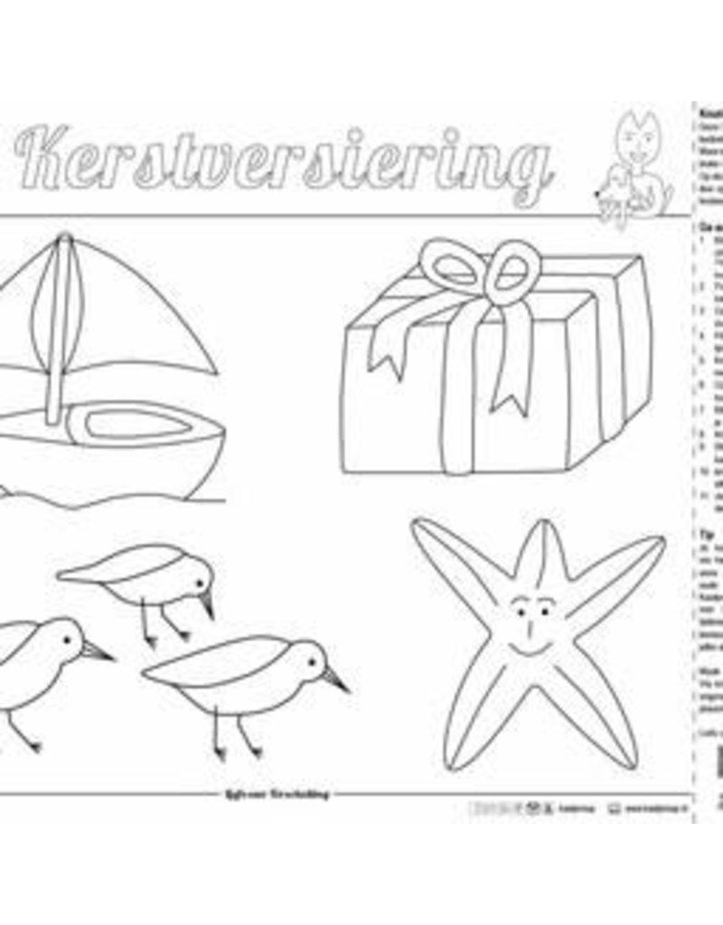 Kaatje&Mup Kleurplaat Placemat  Kerst, kerstboom vinden  per stuk