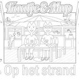 Kaatje&Mup kleurplaat placemat  Strandtent  per stuk