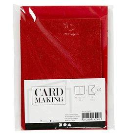 Kaarten & enveloppen, 10,5x15 cm, 4 sets, rood