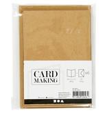 Kaarten & enveloppen, 10,5x15 cm, 6 sets, naturel