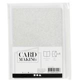 Kaarten & enveloppen, 10,5x15 cm, 4 sets, zilver