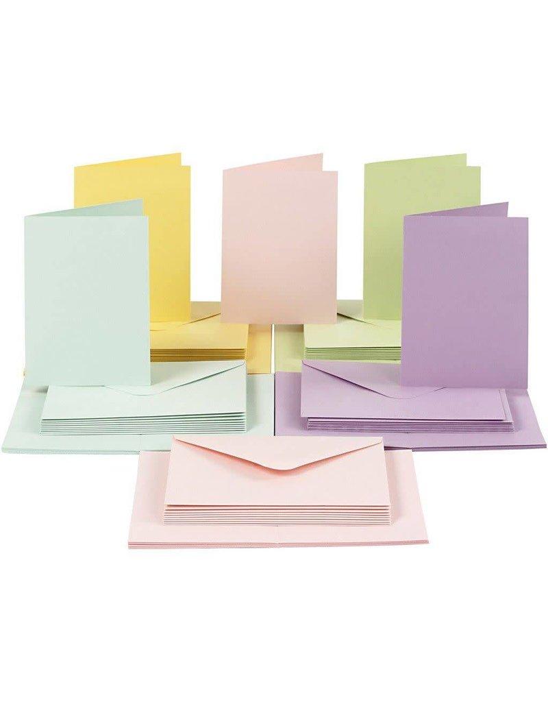 Kaarten & enveloppen, 10,5x15 cm, 50 sets, pastelkleuren