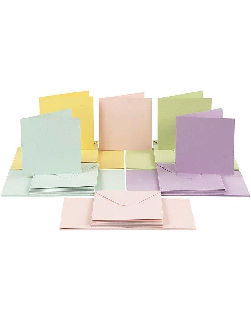 Kaarten & enveloppen, 15x15 cm, 50 sets, pastelkleuren