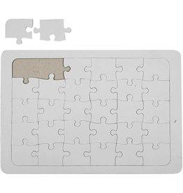 Puzzel, A4 21x30 cm, wit, per stuk