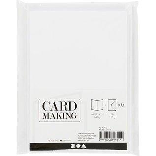 Kaarten & enveloppen, 10,5x15 cm, 6 sets, wit
