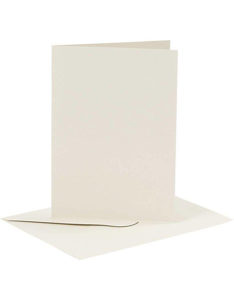 Kaarten en enveloppen, afmeting kaart 10,5x15 cm, afmeting envelop 11,5x16,5 cm, 6 sets, offwhite
