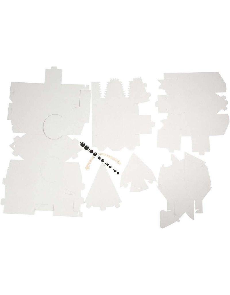 Dieren van karton, afm 1526 cm, dikte 1,5 mm, 5 stuks