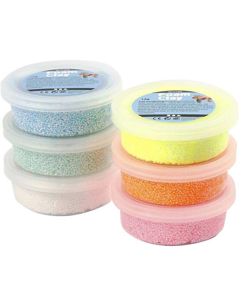 Foam Clay, 6x14 gr, glitter assorti