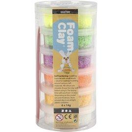 Foam Clay, 6x14 gr, spring kleuren assorti