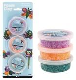 Foam Clay, 3x14 gr, groen, paars, neon oranje