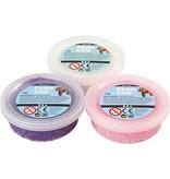 Foam Clay Sets, 3x14 gr, wit, paars, roze
