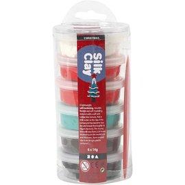 Silk Clay, 6x14 gr, kerst kleuren assorti